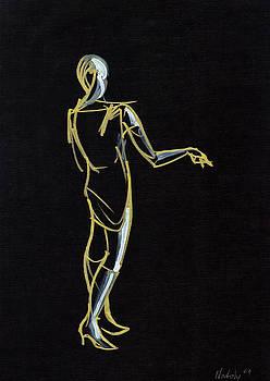 Girl on black by Natoly Art