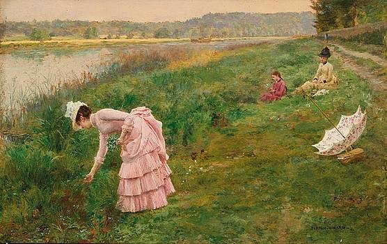 Picking Wildflowers  by Arthur Hacker