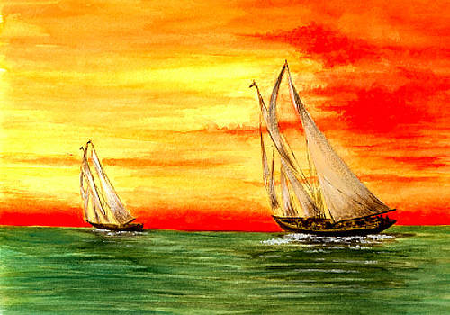 2 Sailboats by Michael Vigliotti