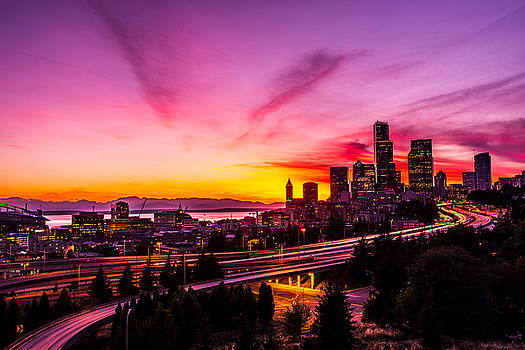 Seattle Down Town in sunset color by Hisao Mogi