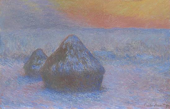 Claude Monet - Stacks of Wheat  Sunset  Snow Effect