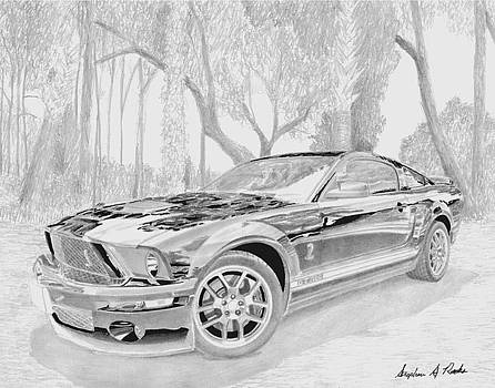 2008 Shelby GT500 MUSCLE CAR ART PRINT by Stephen Rooks