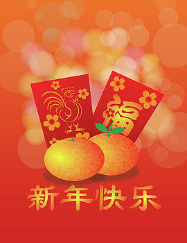 2017 Chinese New Year Rooster Red Packet Background by Jit Lim