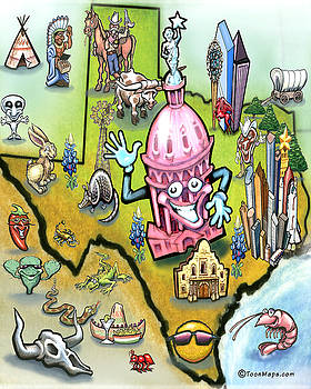 Austin Texas Cartoon Map by Kevin Middleton