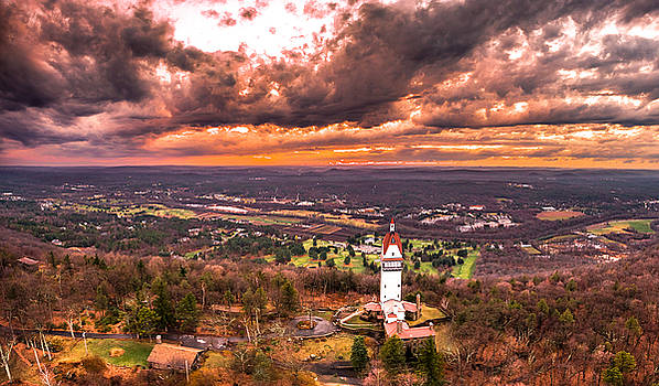 Heublein Tower, Simsbury Connecticut, Cloudy Sunset by Petr Hejl