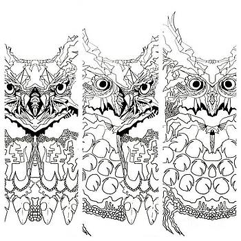3 Owl Sketch  by Amy Sorrell