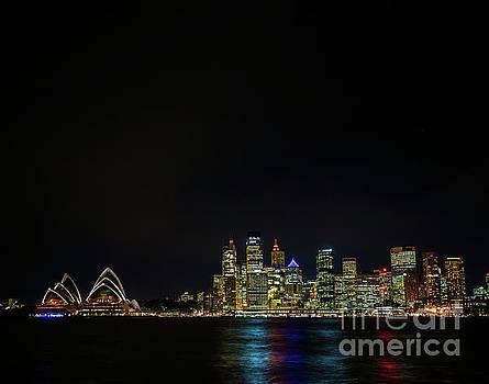 sydney harbour CBD opera house skyline in australia at night by Jacek Malipan
