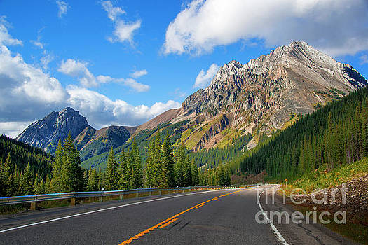 Highway 40 winding through the Canadian Rockies by Yefim Bam