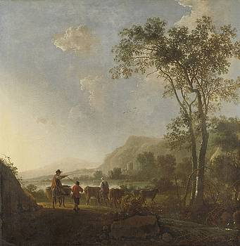 Landscape with Herdsmen and Cattle by Aelbert Cuyp