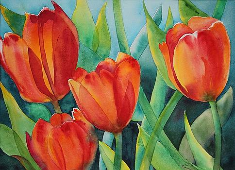 4 Red Tulips by Ruth Kamenev