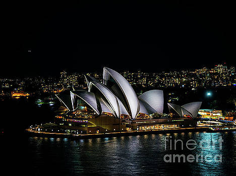 Sydney City Harbour With Opera House At Night In Australia  by Jacek Malipan
