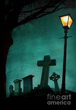 Creepy Graveyard At Night by Lee Avison