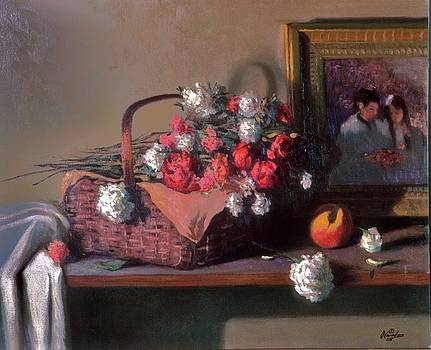 Basket of flowers with painting in background by David Olander