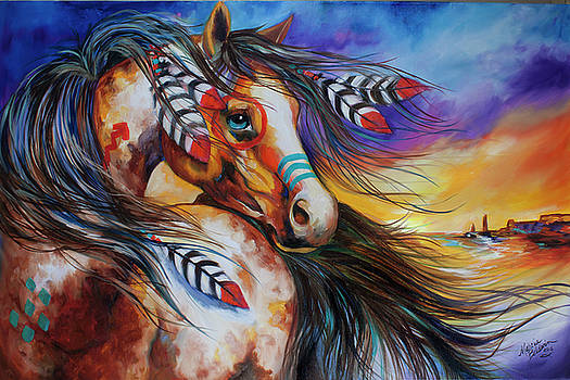 5 Feathers Indian War Horse by Marcia Baldwin