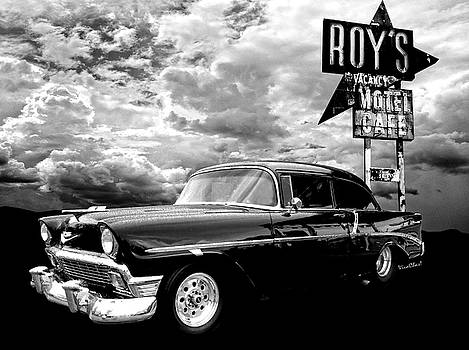 56 Chevy Belair in Black and White by Chas Sinklier