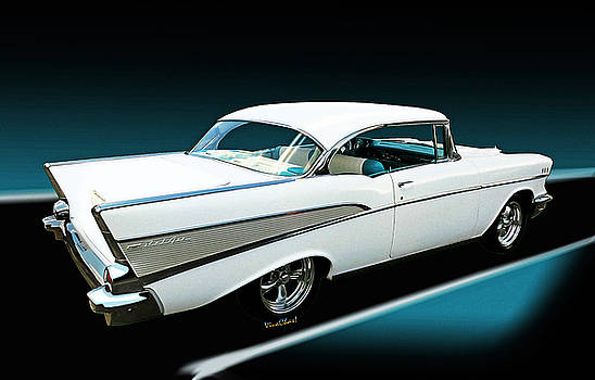 57 Chevy Bel-Air Hardtop in Silver and White by Chas Sinklier