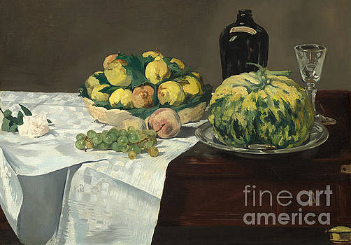 Still Life with Melon and Peaches by Edouard Manet