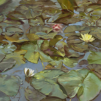 669 Koi and White Lilies by Chuck Larivey