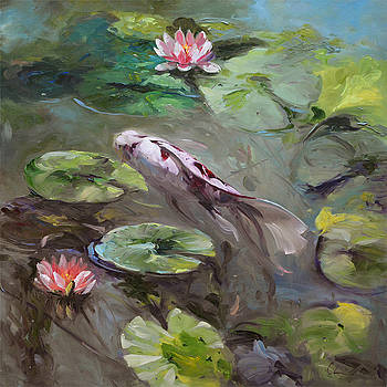 672 Koi and Lilies  by Chuck Larivey