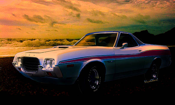 72 Ford Ranchero By The Sea by Chas Sinklier