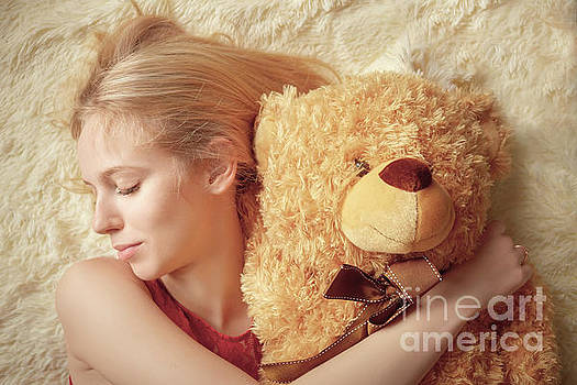 Girl With Teddy Bear by Aleksey Tugolukov