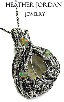 Libyan Desert Glass Meteorite Impactite Wire-Wrapped Pendant in Sterling Silver with Ethiopian Opals by Heather Jordan