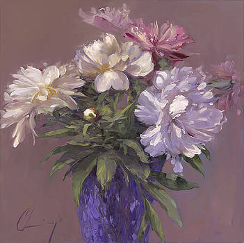 876 Peonies - Shades of white by Chuck Larivey