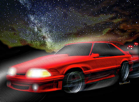 90 Ford Mustang GT 5.0 and The Midnight Chase by Chas Sinklier