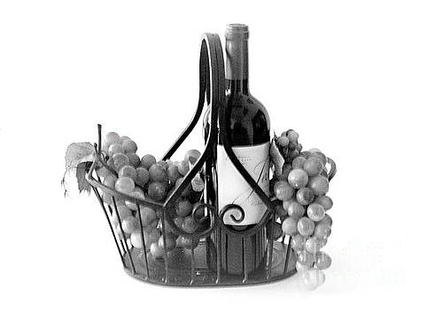 A Basket of Wine and Grapes by Sherry Hallemeier