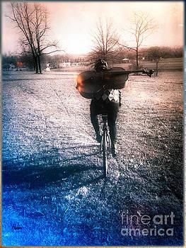 A Cellist by Bike  by Steven Digman
