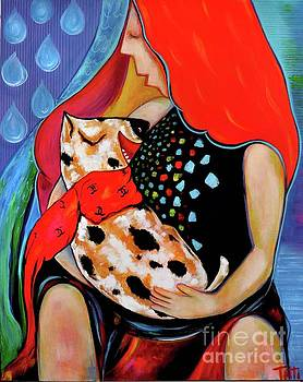 A girl with a dalmatian baby dog by Tatiana Tatti Lobanova