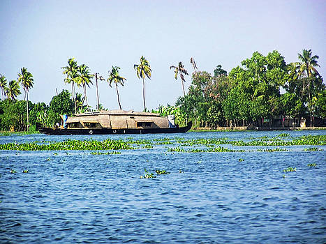 A houseboat on its quiet sojourn through the backwaters of Allep by Ashish Agarwal