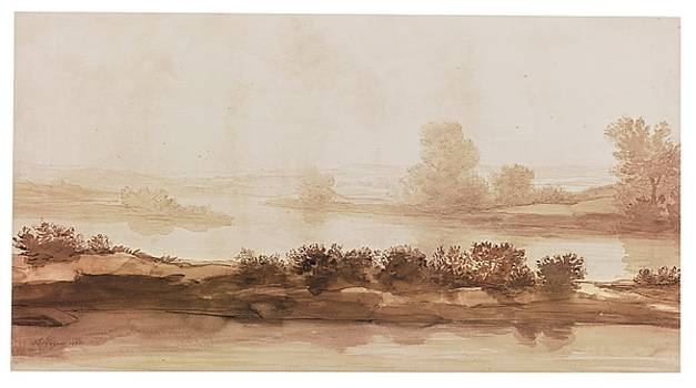 A Landscape Along The Banks Of A River by Alphonse Legros