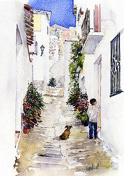 A lane in Los Guajares by Margaret Merry
