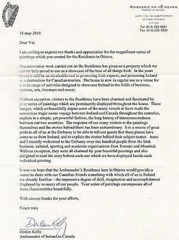 IRELAND CANADA LINKS..a letter from the Irish Ambasador by Val Byrne