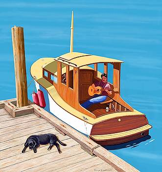 A man a dog and an old boat by Gary Giacomelli