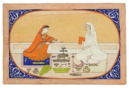 A Miniature Painting Of Two Ladies Worshipping Shiva by MotionAge Designs