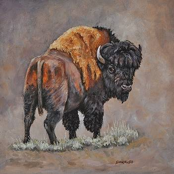 North American Bison - A Moment in Time by Louise Charles-Saarikoski