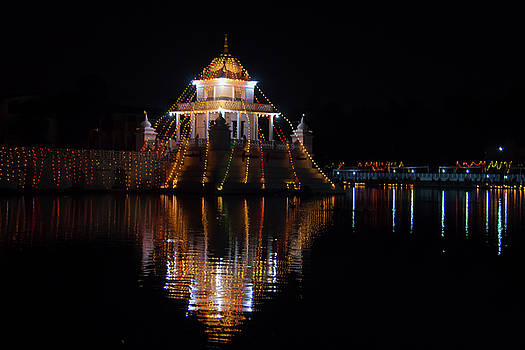 A night view of Ranipokhari by Saroj Pandey