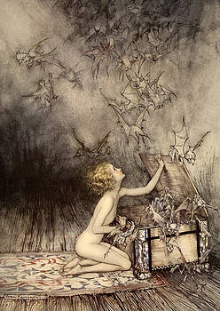 Arthur Rackham - A sudden swarm of winged creatures brushed past her