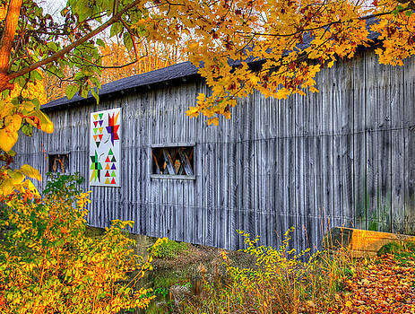 A Tale of Two Pallettes - South Denmark Road Covered Bridge and Barn Quilt - Ashtabula County, Ohio by Michael Mazaika