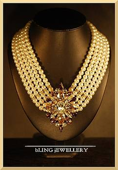 A Touch of Class Brooch 5 Strand Pearl Necklace by Janine Antulov
