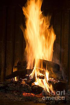 BERNARD JAUBERT - A warm fire in a chimney