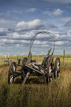 Randall Nyhof - Abandoned covered Wagon on the Prairie in South Dakota