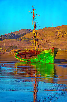 Abandoned Green Boat by Garry Gay