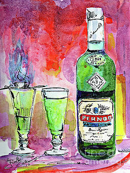 Ginette Callaway - Absinthe Bottle and Glasses Watercolor by Ginette