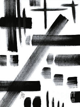 Abstract Black and White Unique Original Painting Black-White 3 by MADART by Megan Duncanson