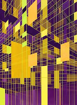 Abstract City Violet and Yellow by Phil Vance