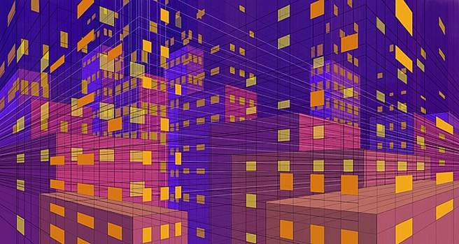 Abstract City Violet Yellow 2 by Phil Vance