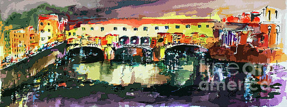 Ginette Callaway - Abstract Florence Ponte Vecchio Italy Panorama